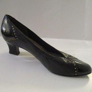 Qupid Black Soft Leather Patent Toe Studded Pumps